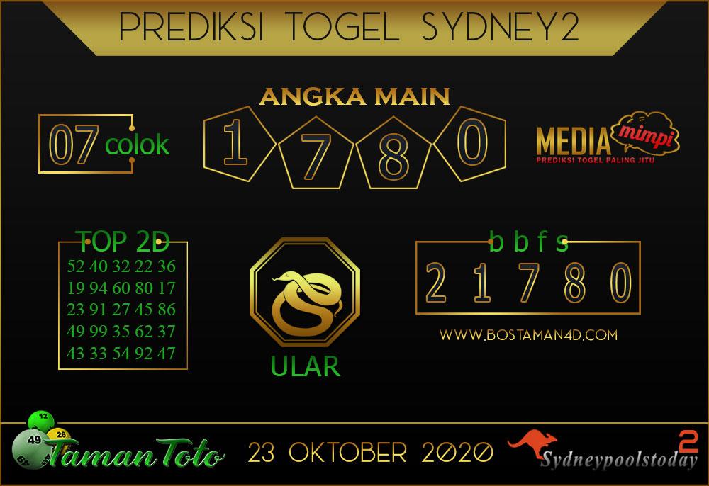 Prediksi Togel SYDNEY 2 TAMAN TOTO 23 OKTOBER 2020