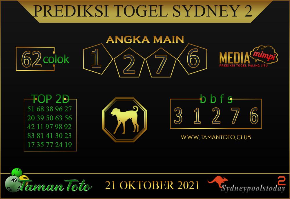 Prediksi Togel SYDNEY 2 TAMAN TOTO 21 Oktober 2021