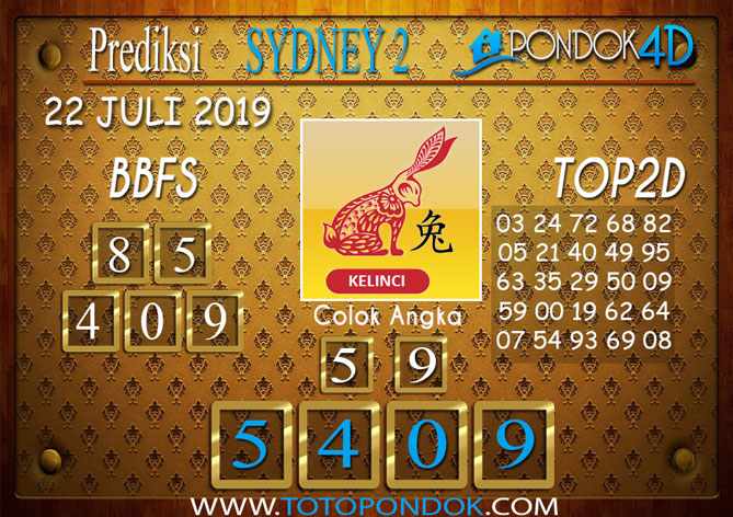 Prediksi Togel SYDNEY 2 PONDOK4D 22 JULI 2019