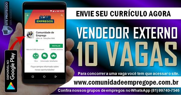 VENDEDOR EXTERNO, 10 VAGAS PARA EMPRESA DE TELECOMUNICAÇÕES