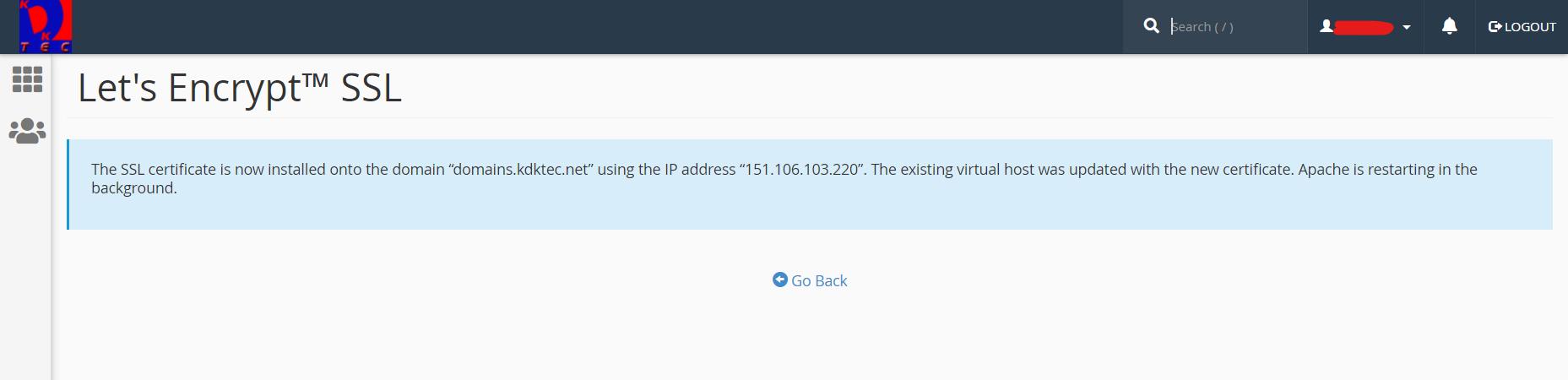 Let's Encrypt SSL certificate installation success message