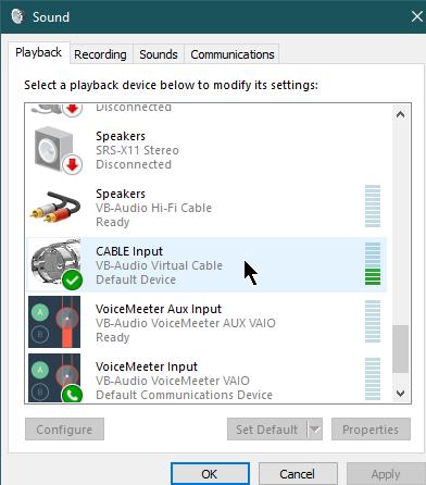 Вход виртуального аудио-кабеля в качестве стандартного устройства воспроизведения в системе