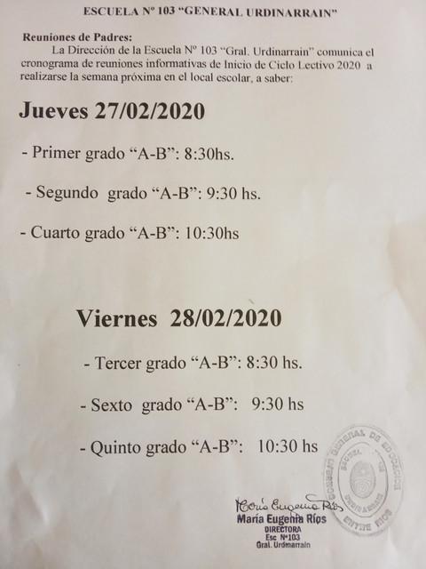 Locales: Escuela Nº 103 General Urdinarrain