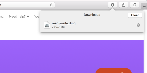 Grey down arrow icon in top right corner of browser clicked to display downloads window with Read&Write file