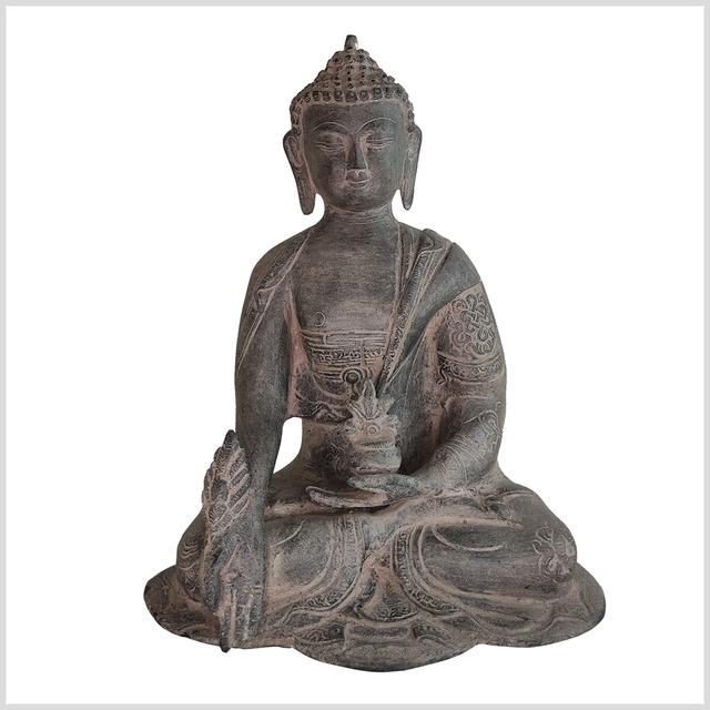 ME-Ashtamangala-Buddha-25cm-3kg-Medizin-steingrau-Vorne