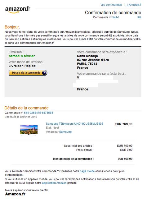 Fausse Confirmation De Commande Amazon Avec Mon Nom Et