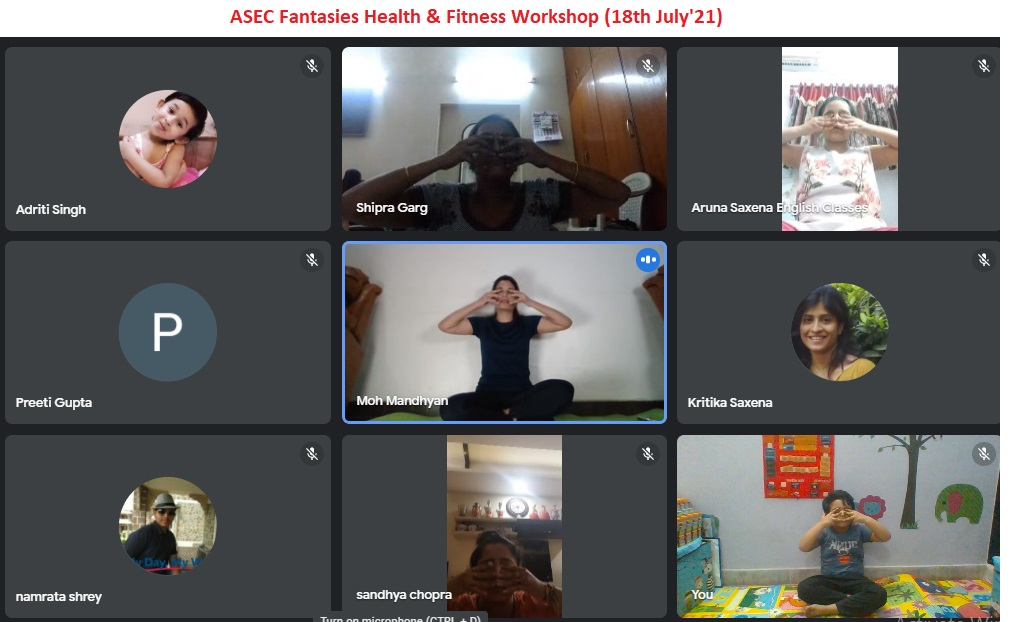 Beauty and health workshop by Yoga Expert Rajni Mandhyan shared in ASEC Aruna Saxena English Classes Fantasies Xtravaganza National Online Activity 2021