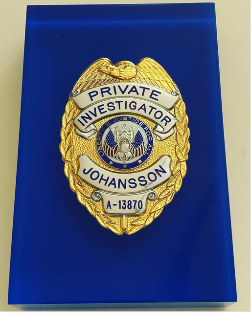 Fia Johansson Private Investigator Badge