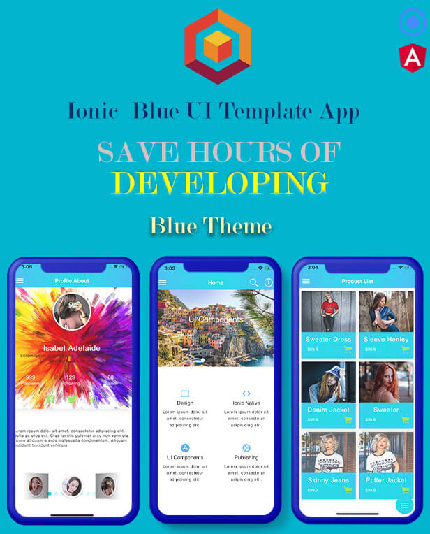 Ionic 5 / Angular 8 Blue UI Theme / Template App | Multipurpose Starter App
