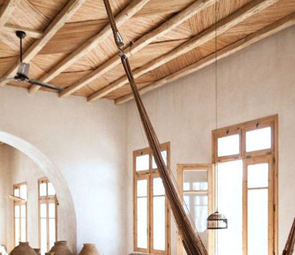wood beamed ceilings with bohemian hammock / sfgirlbybay