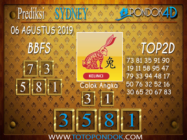 Prediksi Togel SYDNEY PONDOK4D 06 AGUSTUS 2019