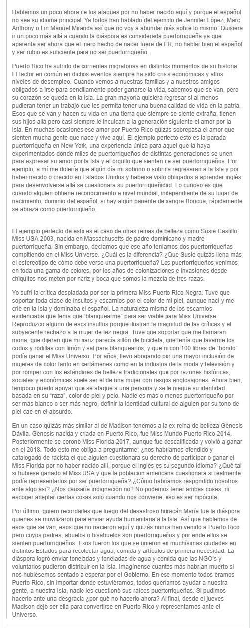 comentarios de alba reyes, top 3 de miss universe 2004, sobre final de miss universe puerto rico 2019. AR-2