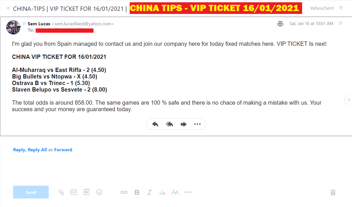 CHINA VIP TICKET FIXED MATCHES