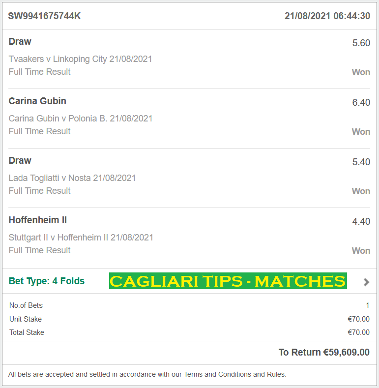 Official VIP TICKET for CAGLIARI-TIPS FIXED MATCHES