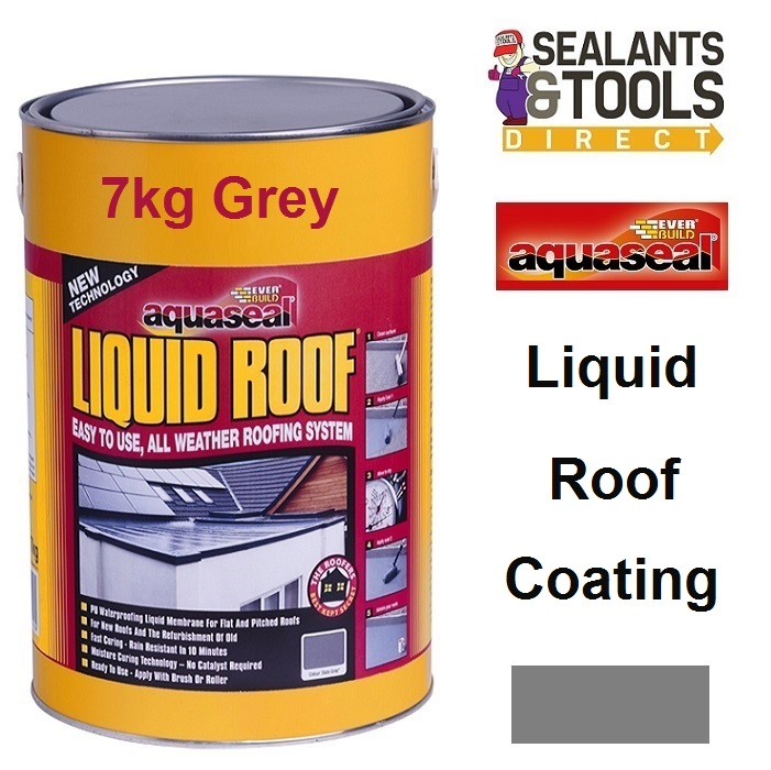 Everbuild Aquaseal Liquid Roof System 7Kg Grey AQLIQRFGY7