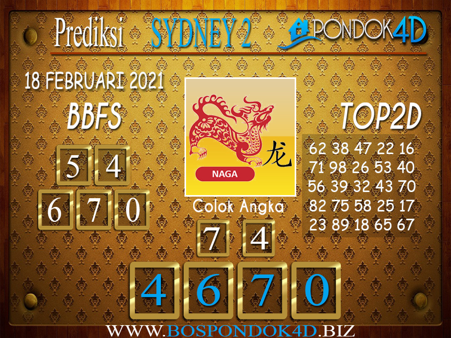 Prediksi Togel SYDNEY2 PONDOK4D 18 FEBRUARI 2021