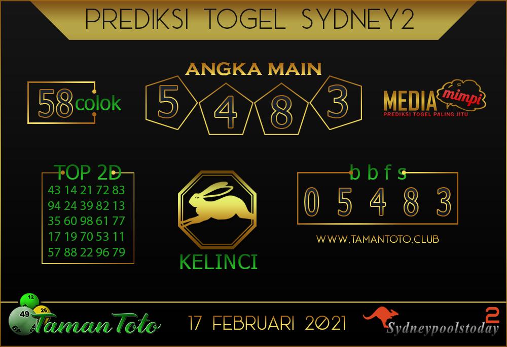 Prediksi Togel SYDNEY 2 TAMAN TOTO 17 FEBRUARI 2021