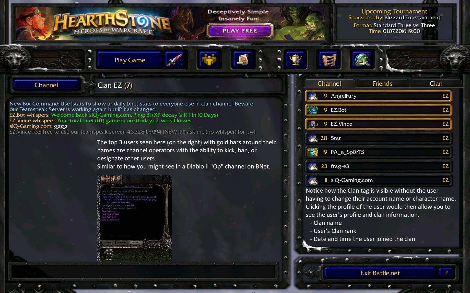 wc3 clan channel - D2R Clan Channels on Battle.net - Could help extend the prime of D2 [Idea Proposal]