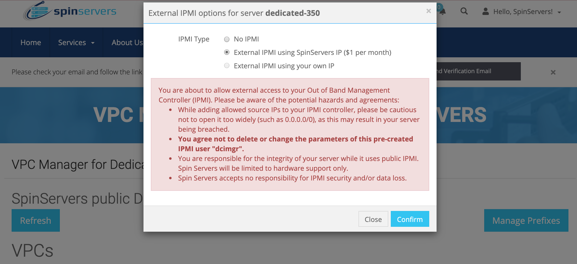 SpinServers Change IPMI Access Type