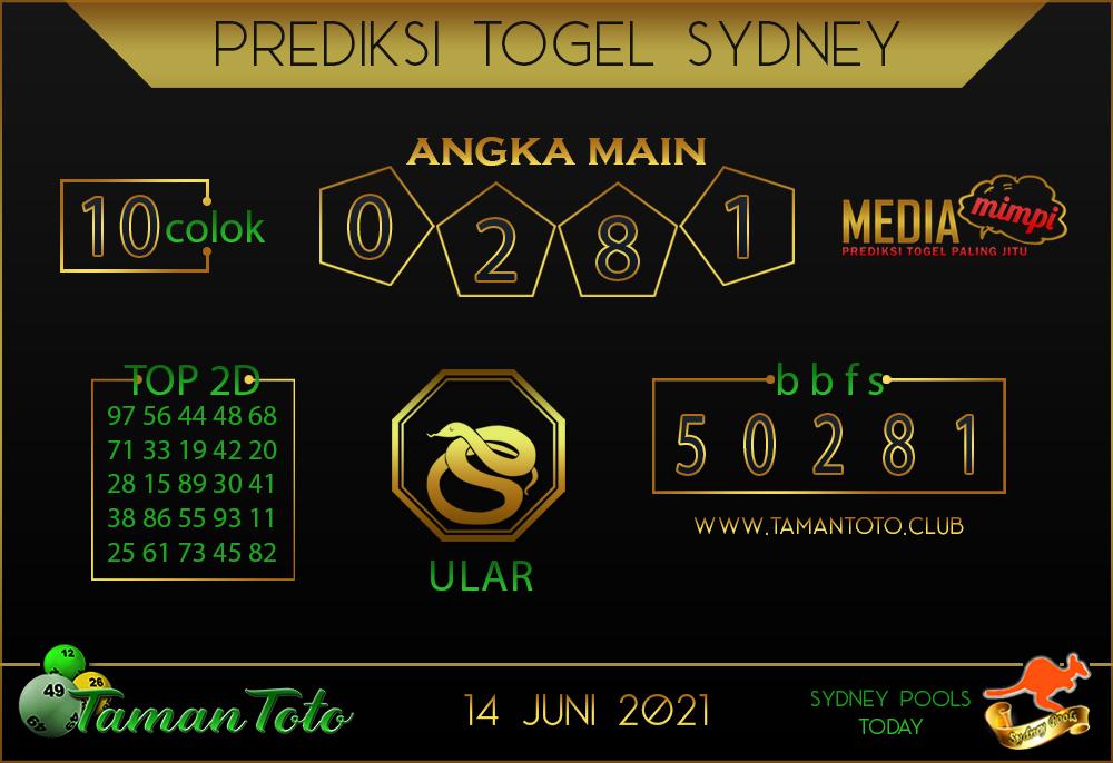 Prediksi Togel SYDNEY TAMAN TOTO 14 JUNI 2021