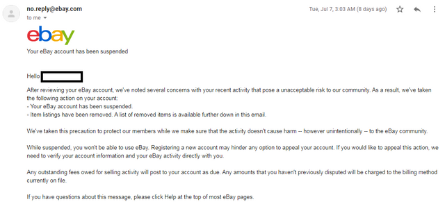 My Ebay Account Got Suspended It S Not Stealth Account Ebay Suspended Paypal Limited Forums