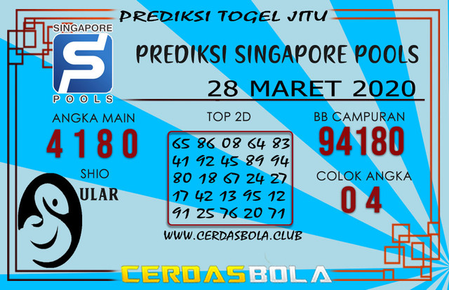 Prediksi Togel SINGAPORE CERDASBOLA 28 MARET 2020