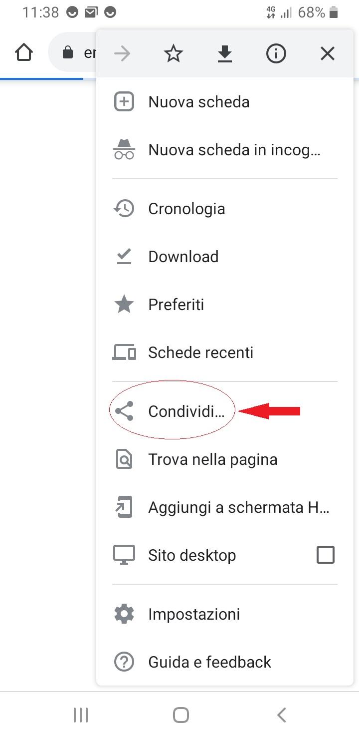 Screenshot nel menu Condividi chrome android