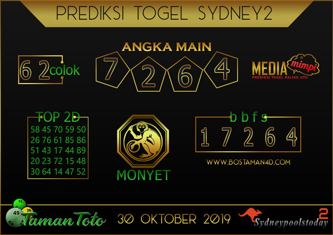 Prediksi Togel SYDNEY 2 TAMAN TOTO 30 OKTOBER 2019