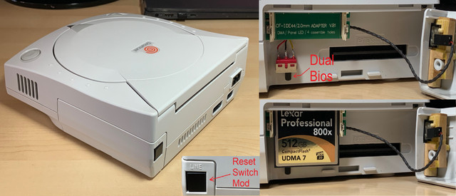 HKT-3020 Dreamcast with Dual bios, Reset switch, and IDE to CF mods.