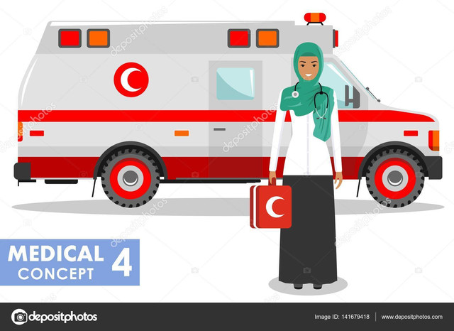 Detailed-illustration-of-arabian-medical-people-and-ambulance-car-in-flat-style-on-white-background