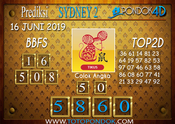 Prediksi Togel SYDNEY 2 PONDOK4D 16 JUNI 2019