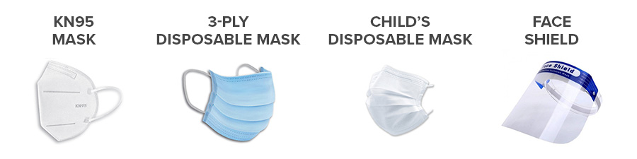 KN95 MASK 3-PLY DISPOSABLE MASK CHILD'S DISPOSABLE MASK FACE SHIELD