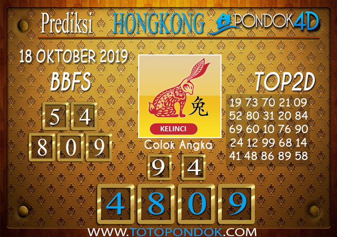 Prediksi Togel HONGKONG PONDOK4D 18 OKTOBER 2019