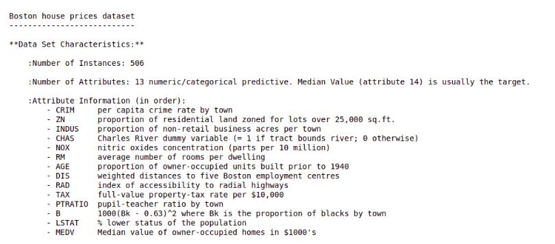 description of boston housing dataset