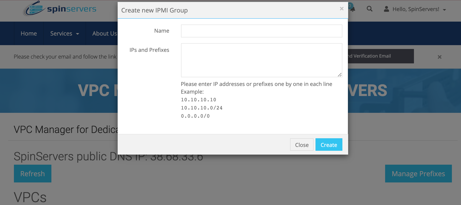 SpinServers IPMI Groups