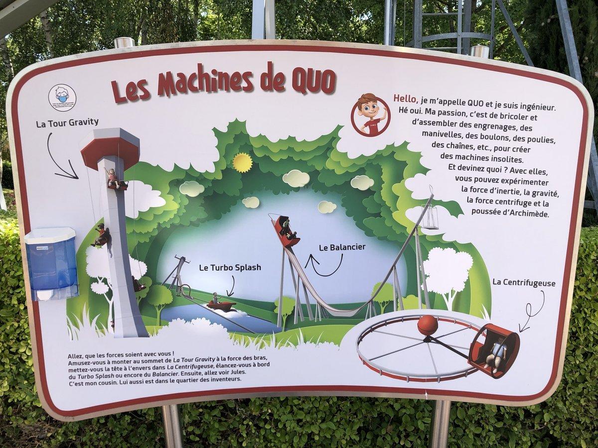 Les Machines de Quo : le Balancier, la Centrifugeuse, la Tour Gravity, le Turbo Splash Futuropolis-Machines-de-Quo-panneau