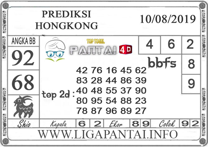 """PREDIKSI TOGEL """"HONGKONG"""" PANTAI4D 10 AGUSTUS 2019"""