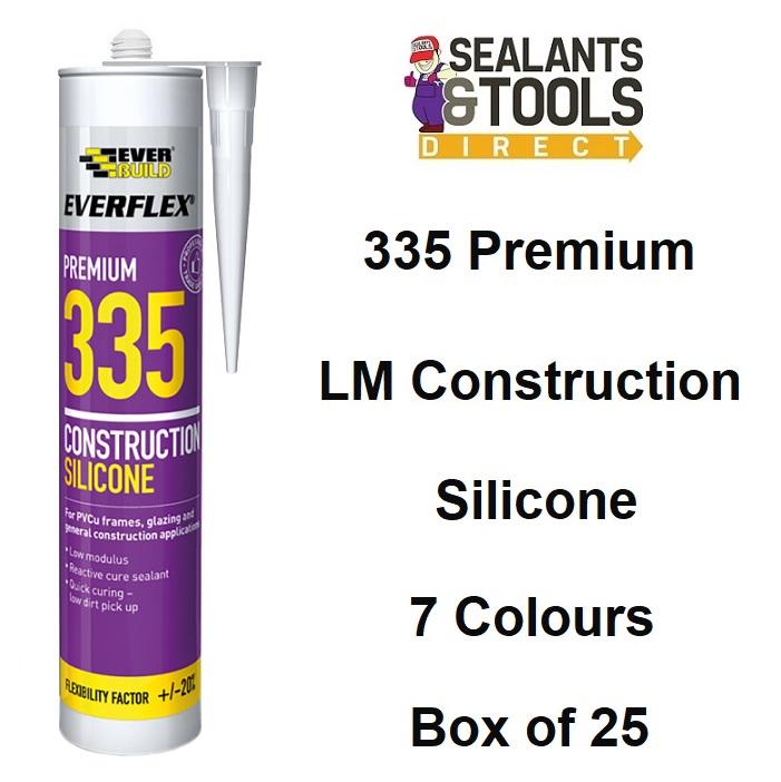 Everbuild 335 Construction LM Coloured Silicone Sealant Box of 25