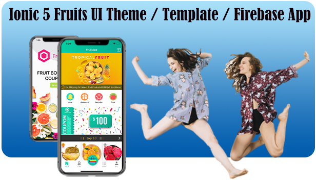 Ionic 5 Fruits UI Theme / Template / Firebase App