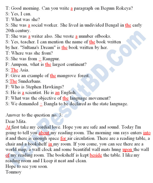 Class 7 English 4th Week Assignment Answer