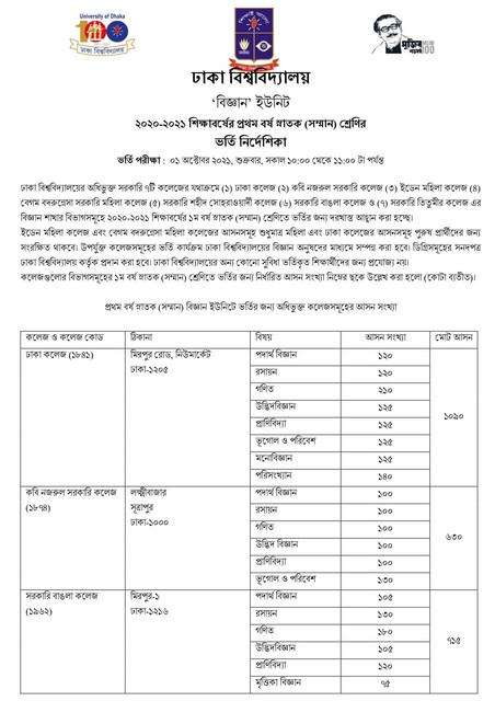 ঢাবি ৭ কলেজ বিজ্ঞান ইউনিট বিজ্ঞপ্তি