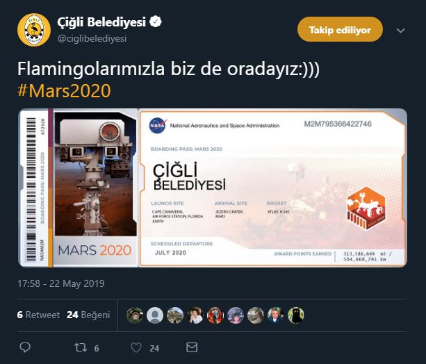 Çiğli Belediyesi Mars'a gidiyor