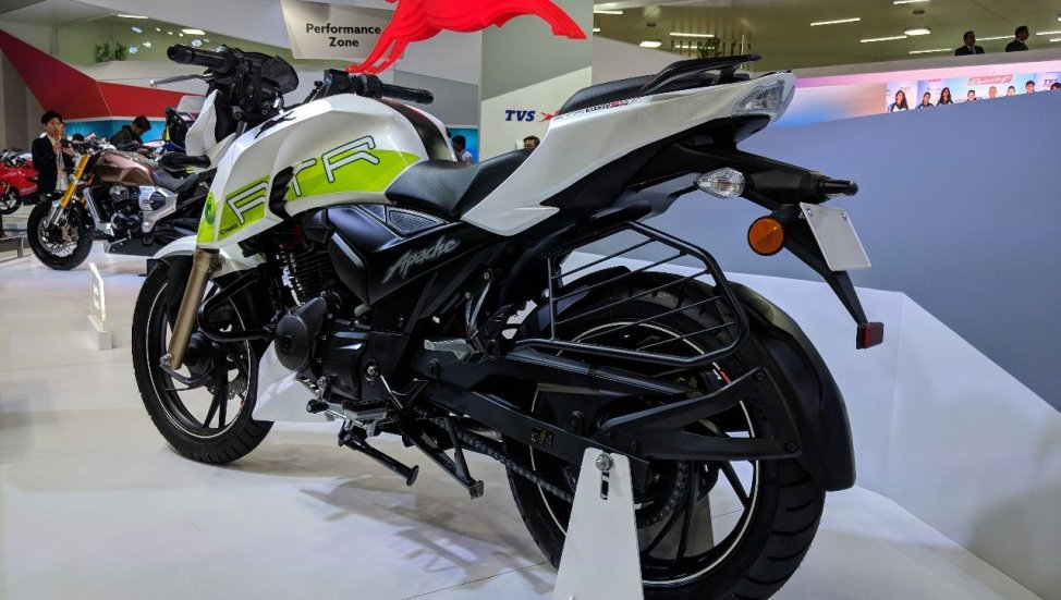 TVS-Apache-RTR-200-Fi-Ethanol-rear-left-quarter-at-2018-Auto-Expo