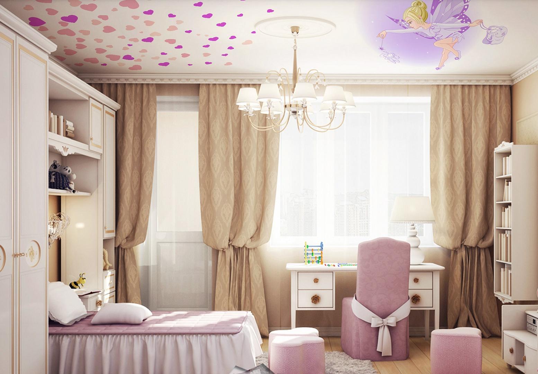 Натяжной потолок в комнату для девочки