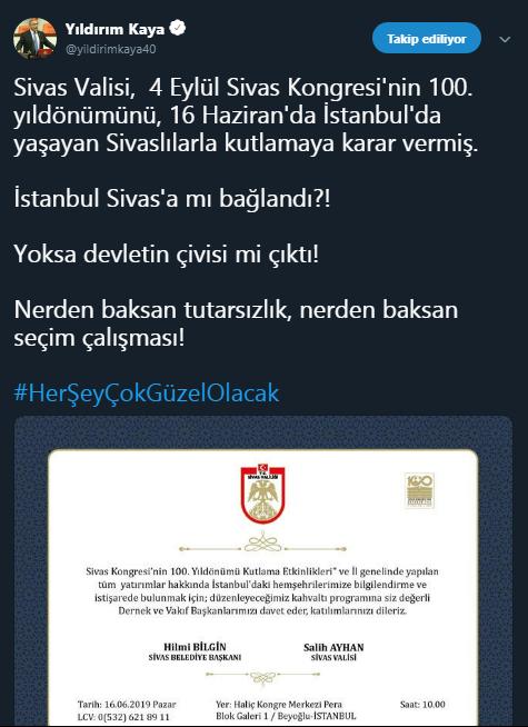 CHP Genel Başkan Yardımcısı Yıldırım Kaya tweet