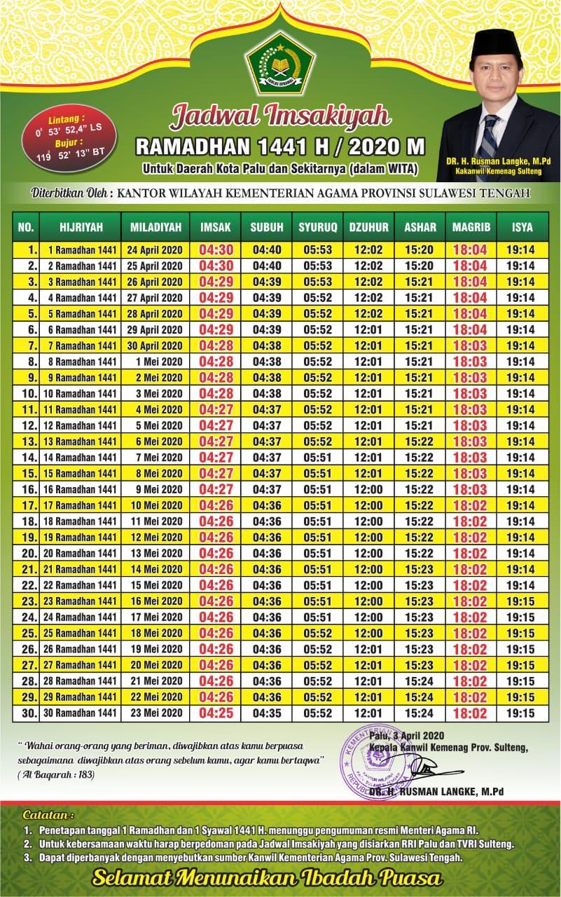 Jadwal Imsakiyah Ramadhan 2020/1441 H di Kota Palu menurut Pemprov Sulteng