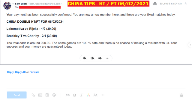 CHINA DOUBLE HT / FT | FIXED MATCHES