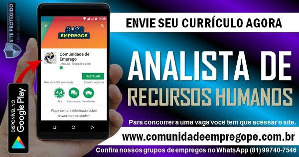 ANALISTA DE RECURSOS HUMANOS COM SALÁRIO R$ 2900,00 PARA TRANSPORTADORA