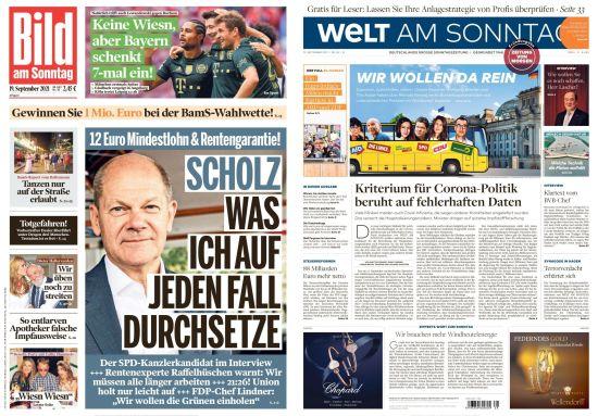Bild und Welt am Sonntag No 38 vom 19  September 2021