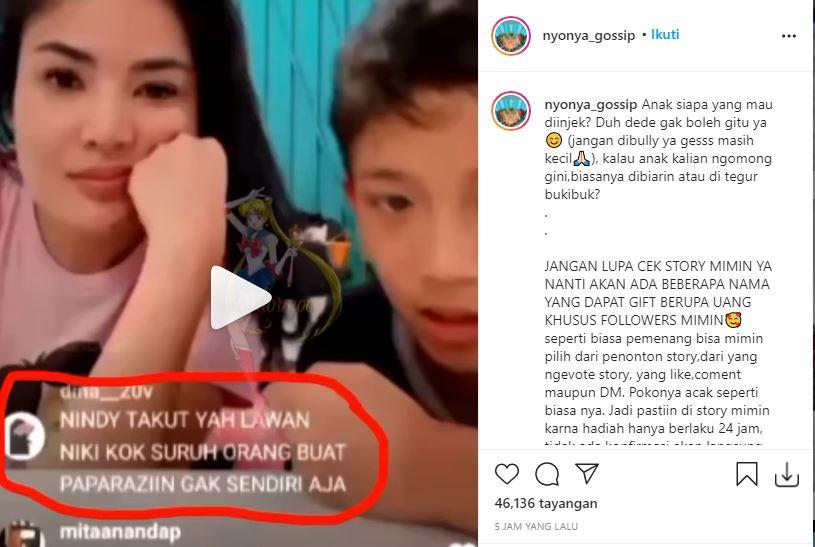 Cuplikan Live Instagram Nindy Ayunda yang tuai sorotan